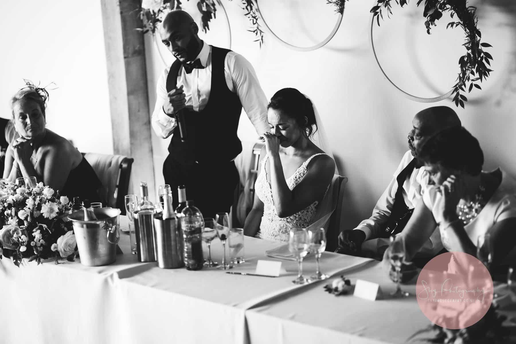 bride in tears as groom makes powerful speech