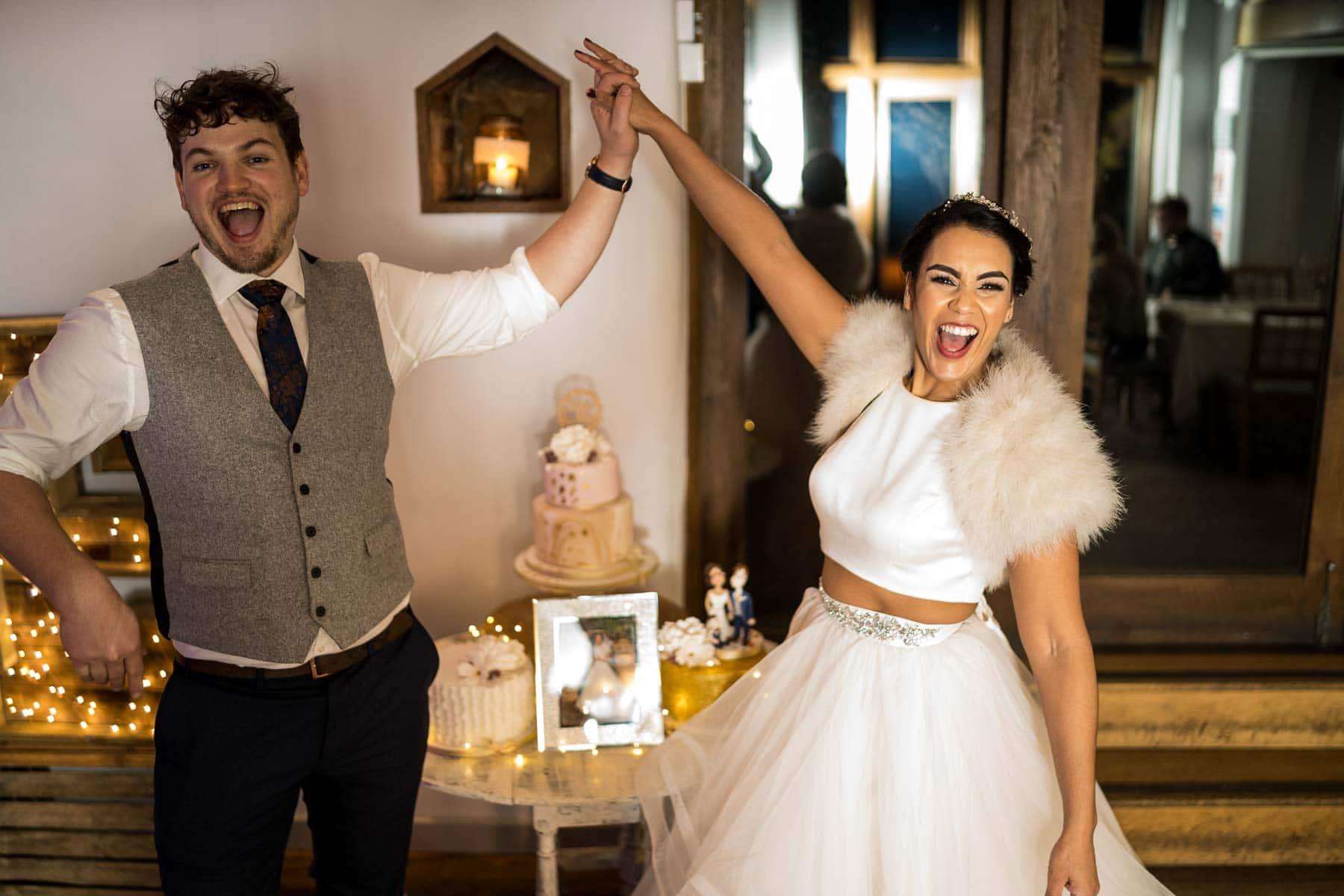 wedding cake celebration pose