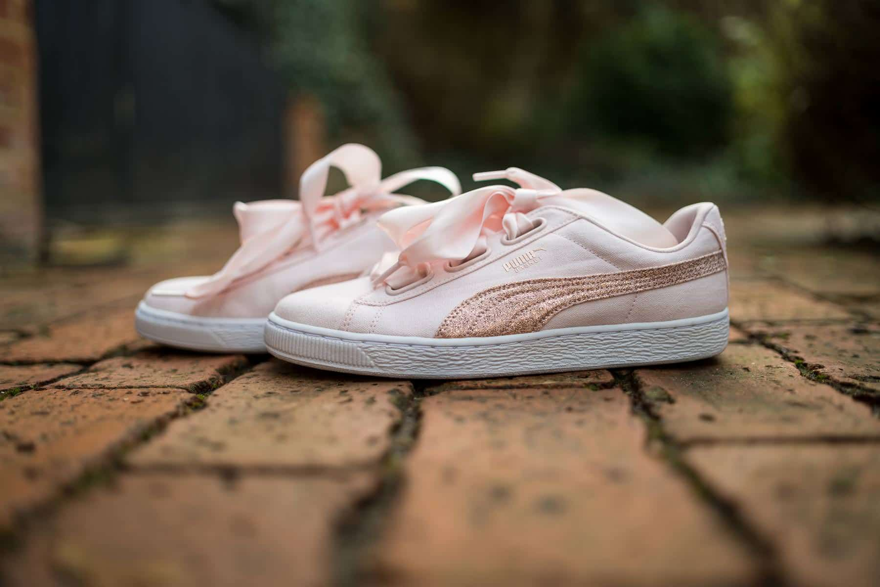 puma trainers as bridal shoes with ribbons