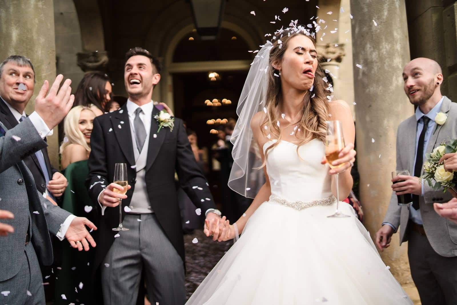 Wedding Photographer Leicestershire awkward Confetti photo