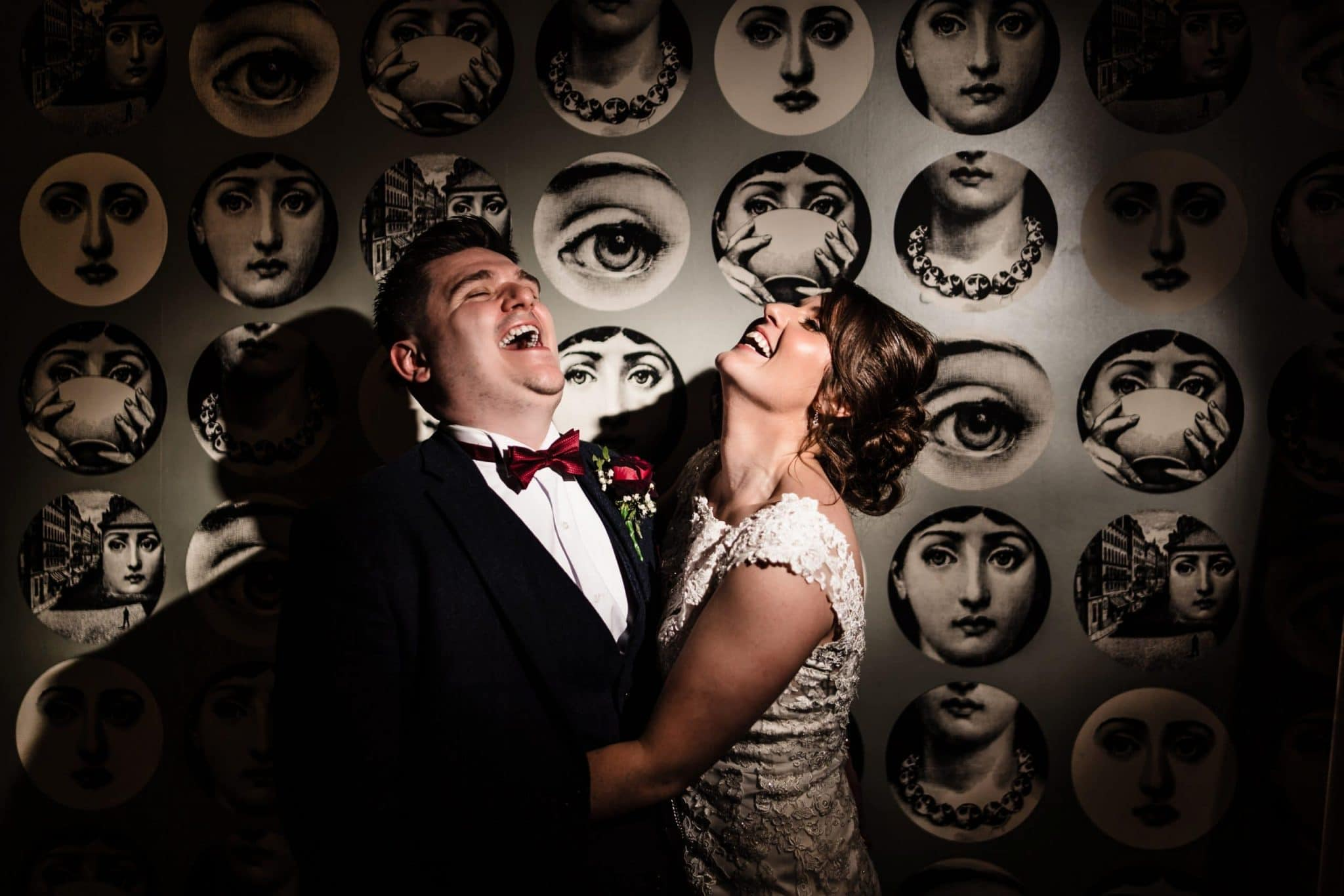 Bride and Groom laughing in at Warwick House Wedding Southam