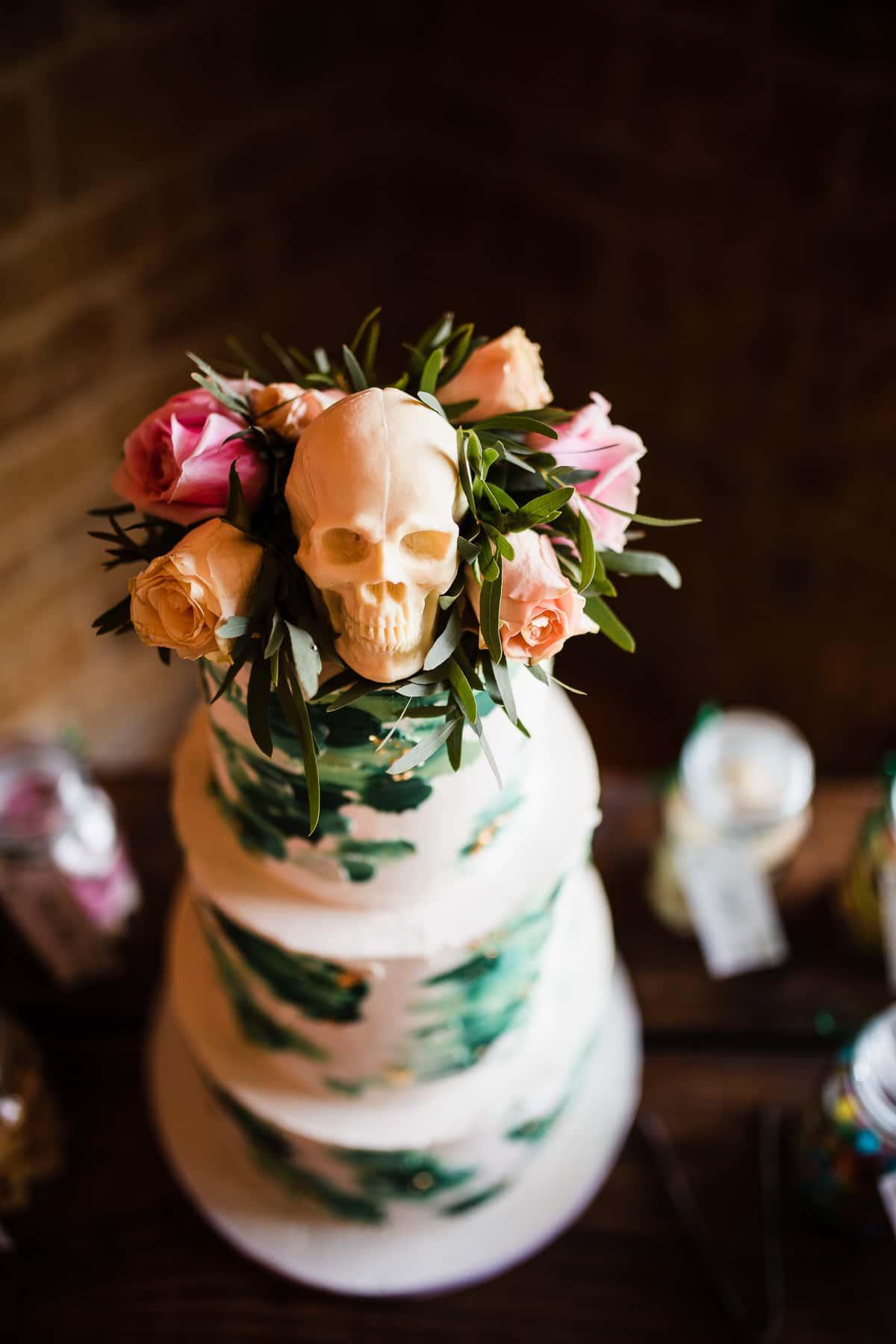chocolate skull wedding cake
