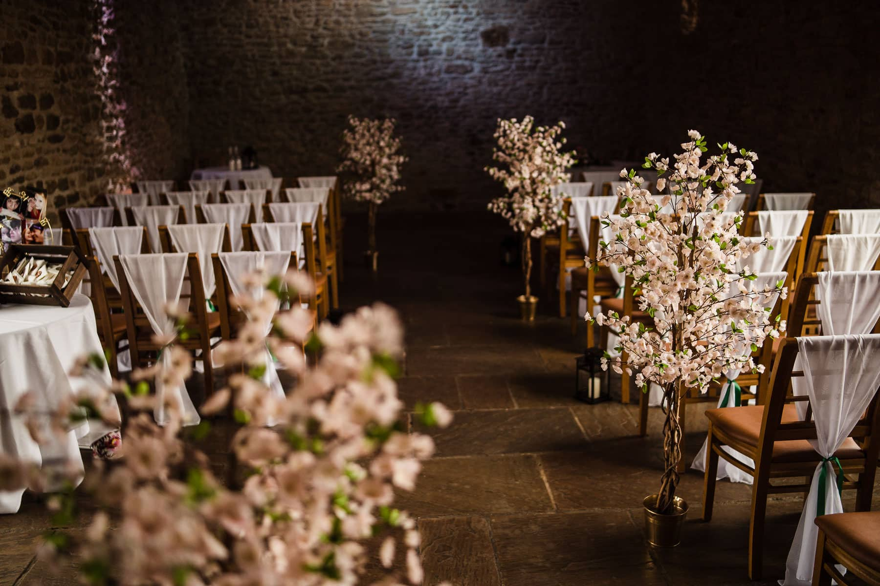 Blossom trees used to decorate dodford manor