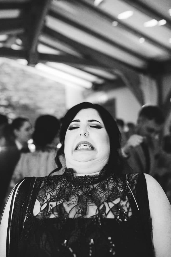 Bridesmaid pulling a funny face