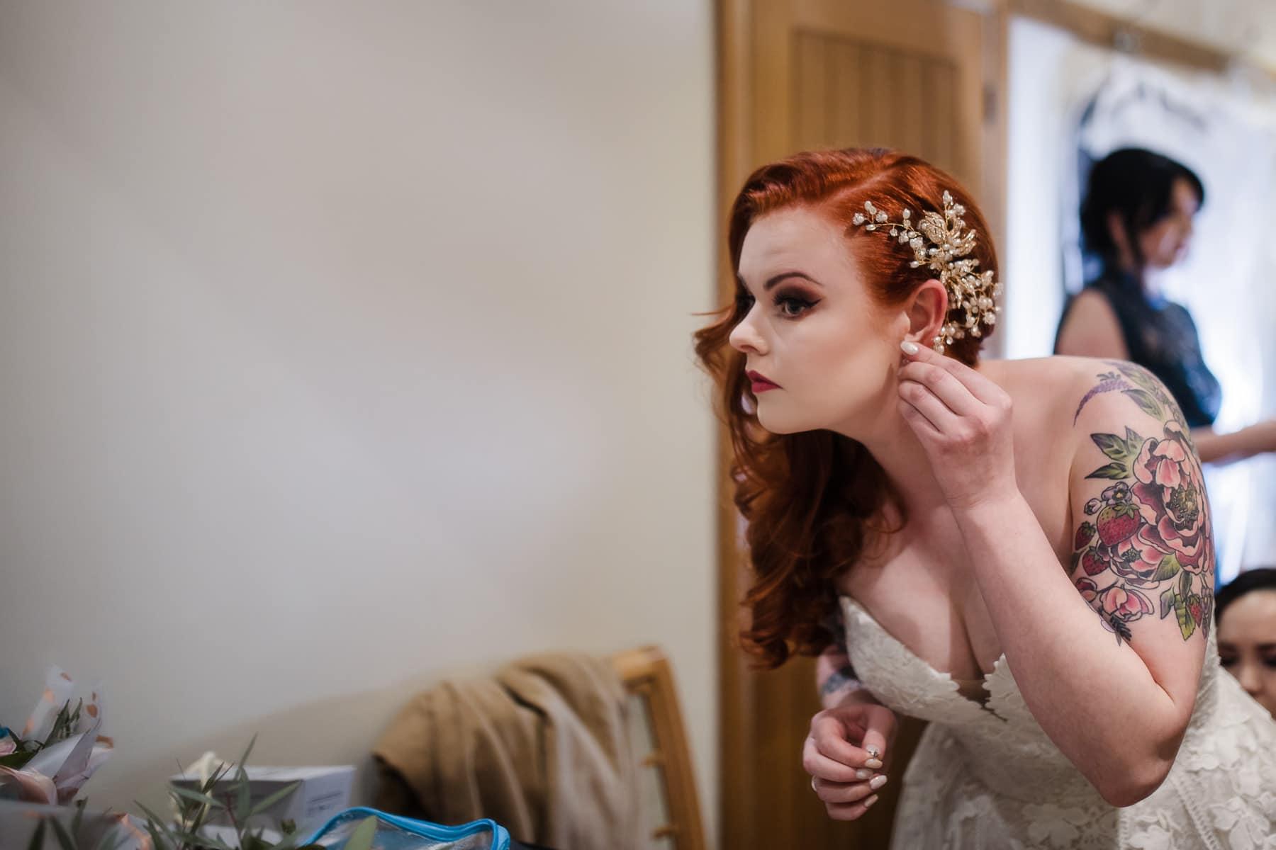 alternative bride in dodford manor's bride prep room