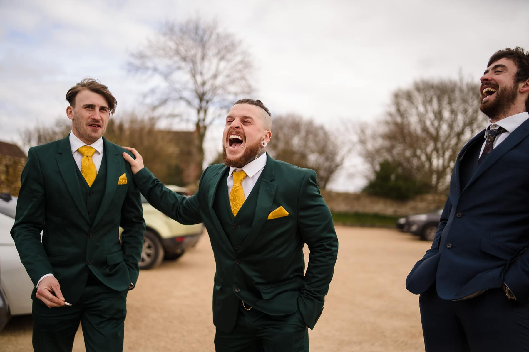 ALternative photography of a groom and his gooms men
