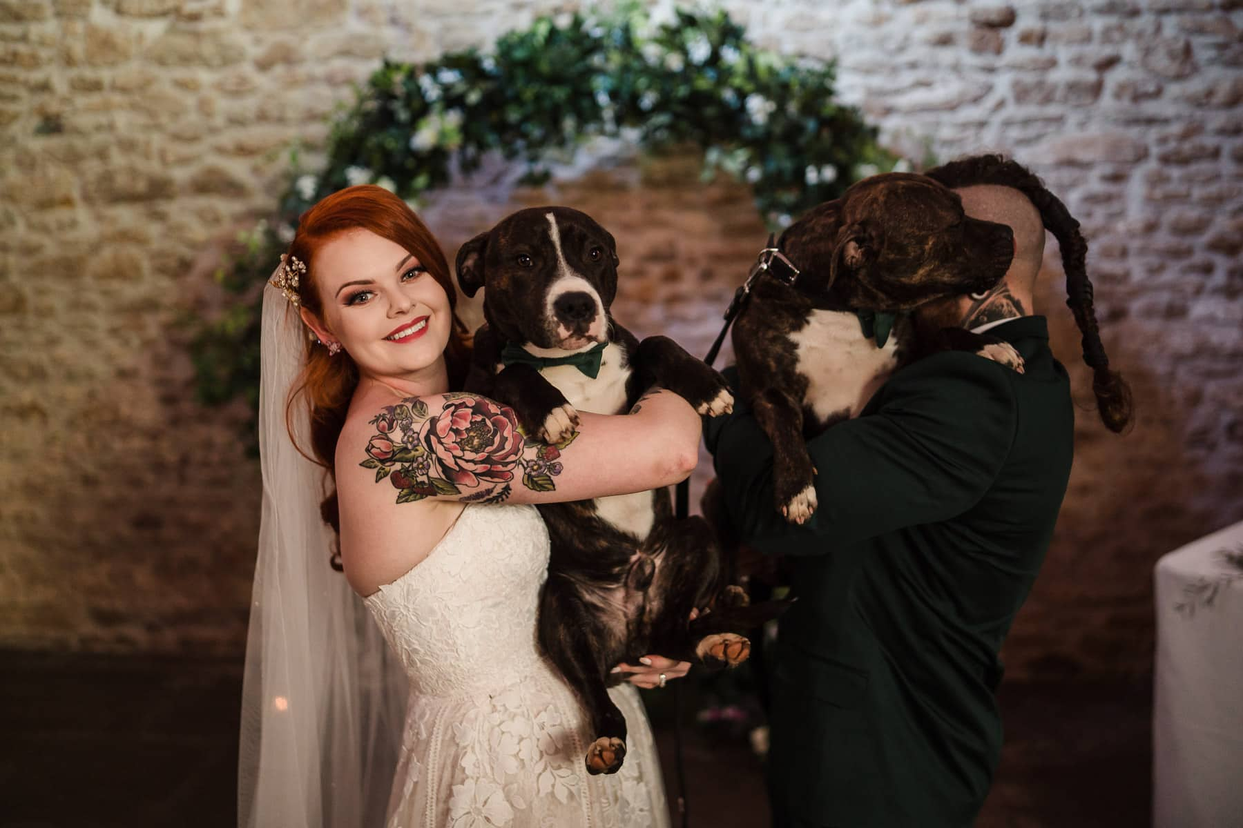 Dogs at the ceremony at Dodford MAnor