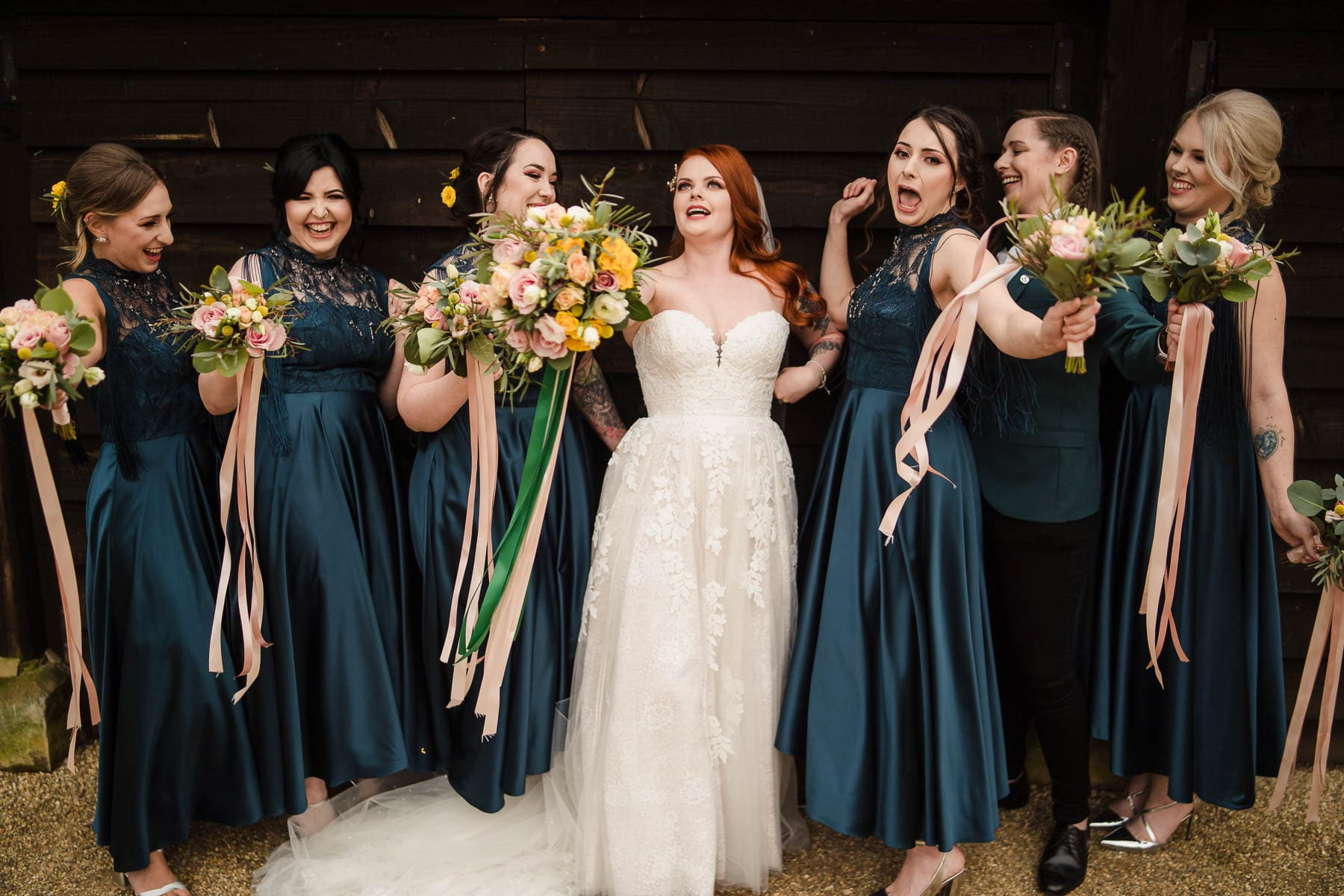 Alternative Wedding Photographer taking photos of bridesmaids