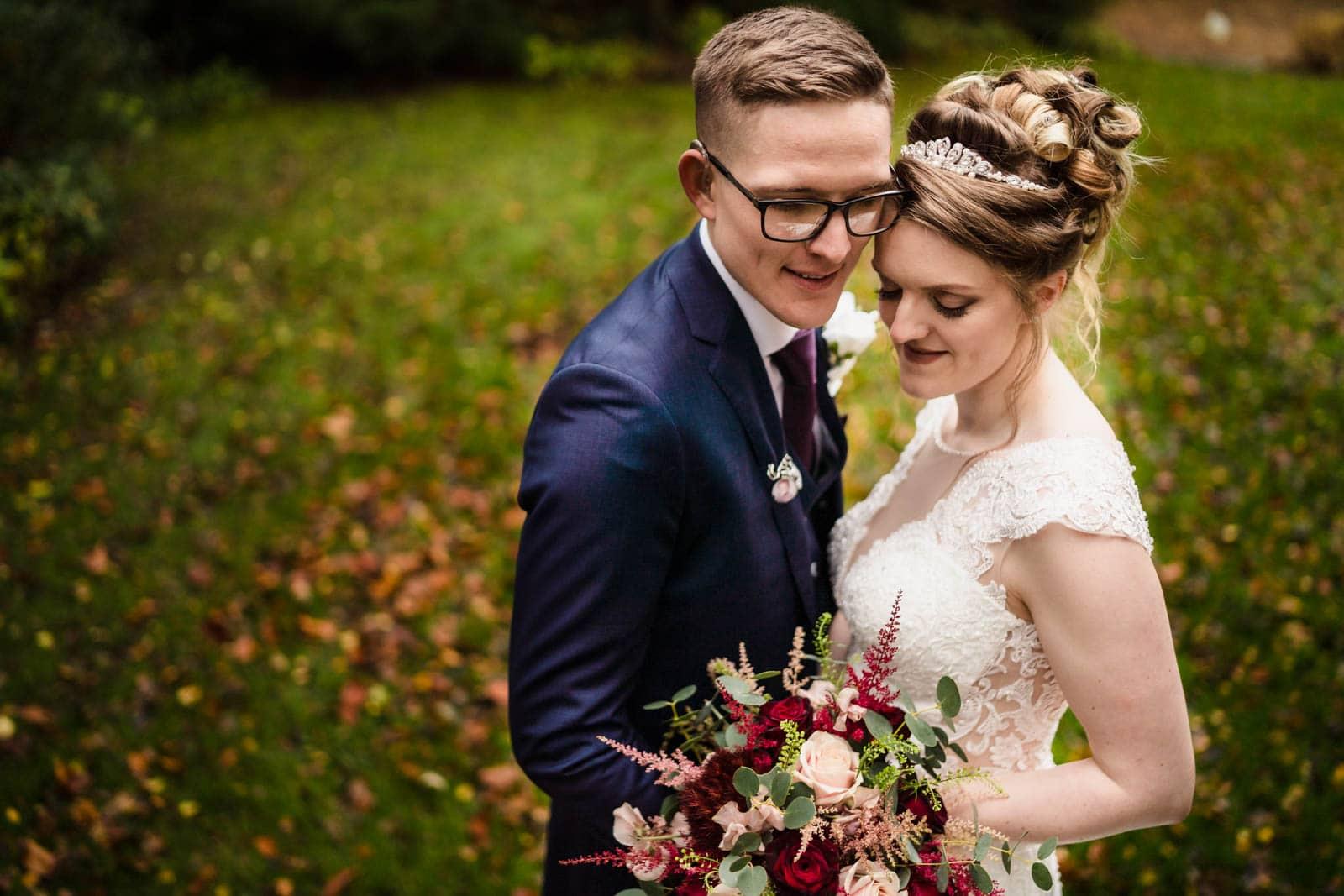 Autumnal bride and groom portrait