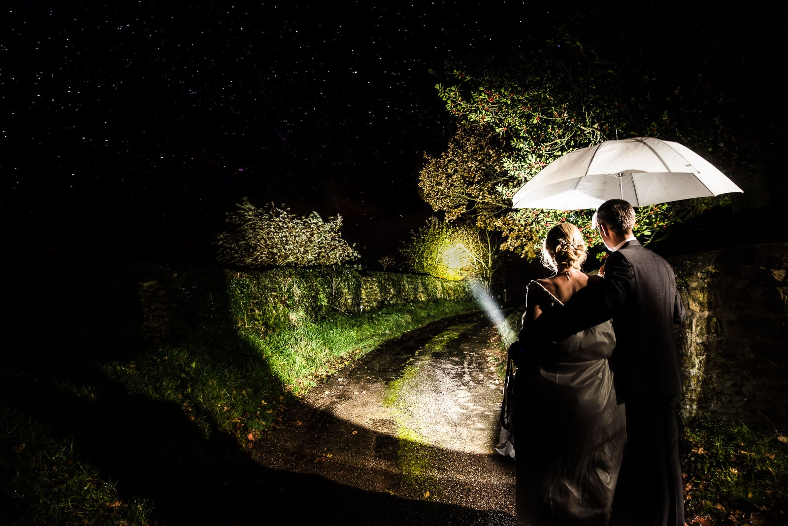 Wedding photography using a flash light and off camera flash